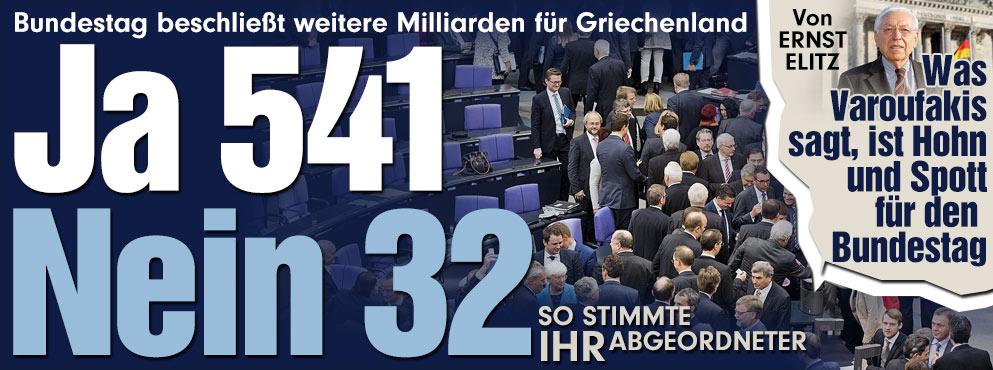 Bild: Πακέτο βοήθειας στην Ελλάδα - Ετσι ψήφισε ο βουλευτής σου