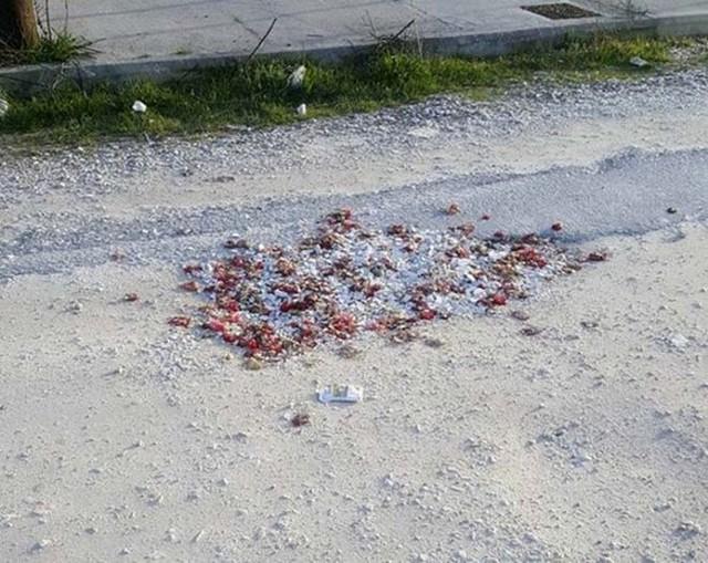 Λάρισα: «Ασφαλτόστρωσαν» λακούβες στο δρόμο με σπασμένα πιάτα και λουλούδια! (pic)